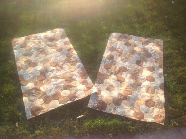Voila j'ai profité de ce petit rayon de soleil pour prendre une photo des 2 tops Fini il y a 120 hexago sans compter... les demi ...les quart... hihilol mais pour 1....la je vais pouvoir faire mon sandwich molleton et doublure pour tout quilter et après hop sur mes jolis canapés