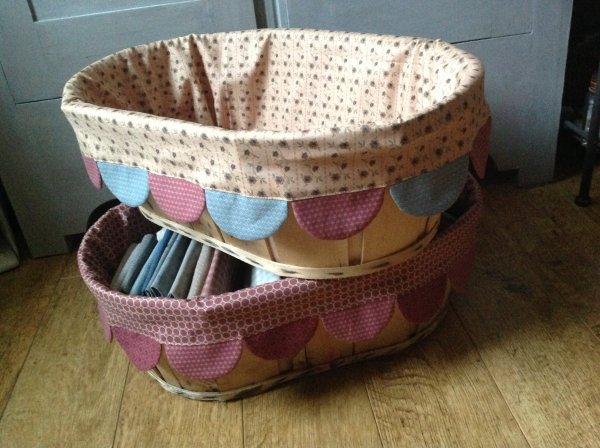 Et voila ce que j'ai cousu aujourd'hui !!! habillage de mes caisses avec les tissus de l'atelier perdu ... la nouvelle collection...