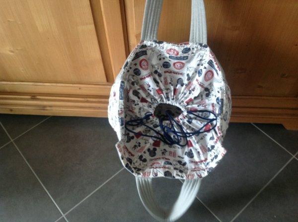 J'ai confectionné un très grand sac pour filleule pour son petit ethan qui va chez la nounou et une petite pochette aussi...