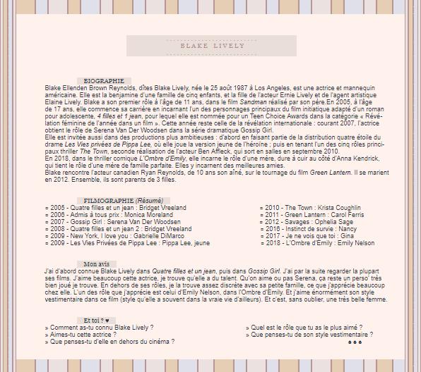 ●●● O M G - G A L L E R Y________ACTRICE ::Blake Lively___________________ newsletter || création || décoration