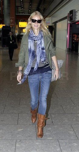 Gwylneth Paltrow à l'aeroport de Heathrow