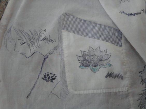 dessin fais sur une blouse