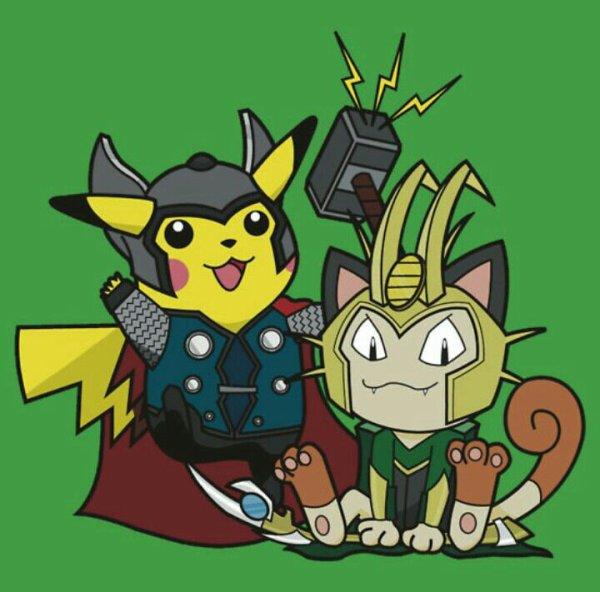Pikachu et miaouss - thor et loki