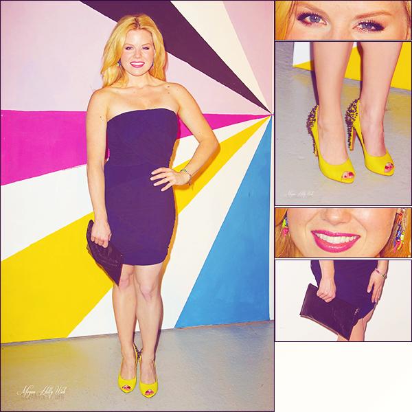 FLASHBACK : 10/02/12: Megan a la Fashion Week. Pour moi, c'est un bof, j'aime bien sa robe et sa pochette, mais j'aime pas du tout ses chaussures.