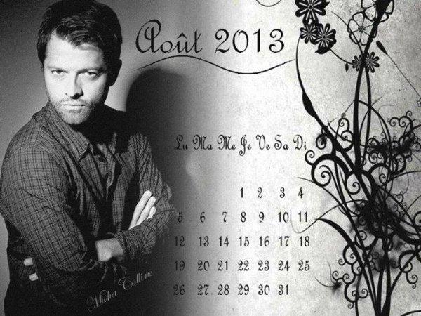 mon calendrier pour le mois d'août