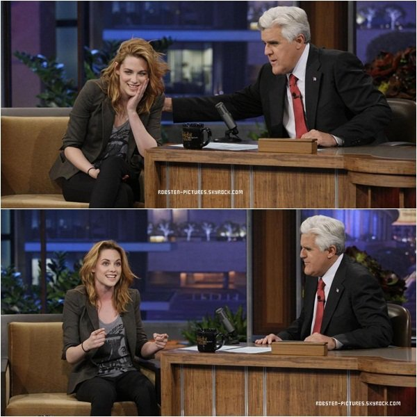 *Kristen at Jay Leno Show Elle est superbe. Quel plaisir de la voir aussi souriante ! Quand à sa tenue, j'aime bien, elle n'a pas besoin d'en faire trop. Ces cheveux ont l'air de bien repusser et c'est tant mieux. Donc un TOP !  *
