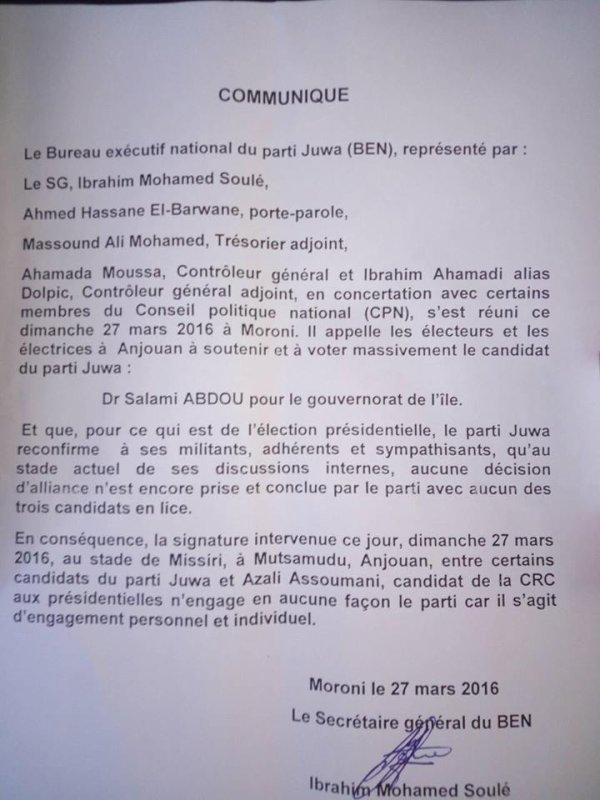 L'accord de Missiri met le feu dans le parti JUWA