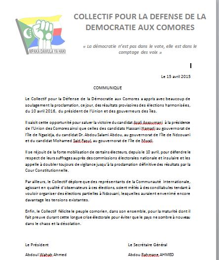 Communiqué pour la défense de la démocratie aux Comores