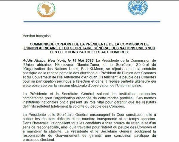 COMMUNIQUE DE LA PRESIDENTE DE L'UA ET DU SG DES NATIONS UNIES