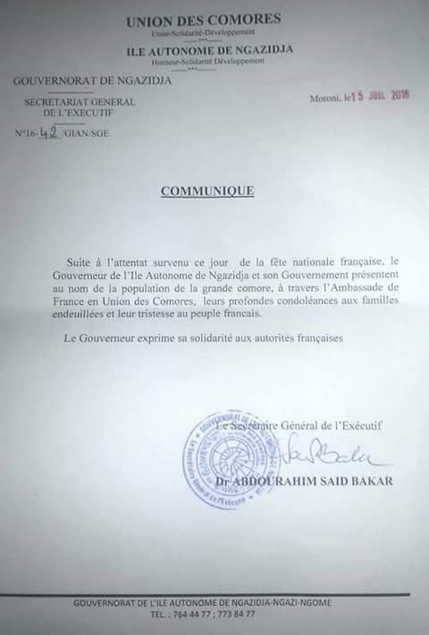 Le gouvernorat de Ngazidja présente ses codoléances à l'ambassade de France