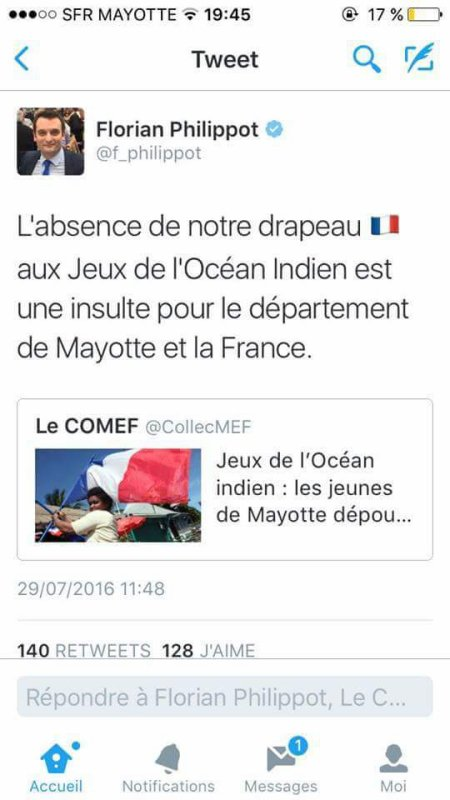 Mayotte: Le tweet du Front National