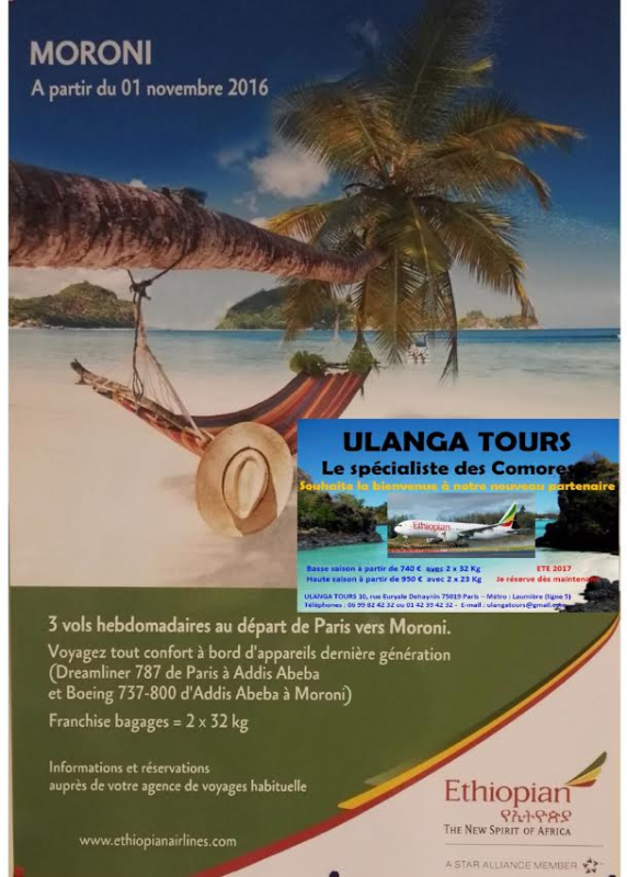 Avec Ulanga tours les Comores deviennent proches abord d'Ethiopian Airline