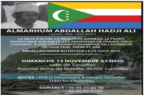 Ensemble rendons hommage à un patriote: Le regretté Abdallah HADJI ALI