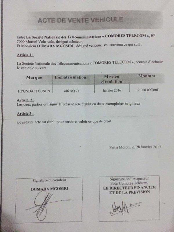 Comores télécom : M.MGOMRI ne prend pas des gants pour se servir