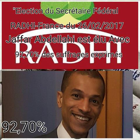 Le parti RADHI vient d'elire un nouveau sécretaire à la tête de sa fédération de France