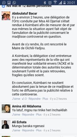 L'ORTC censure la diffusion du Mdjiliss de l'association de Koimbani à Paris