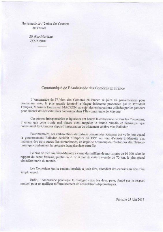 COMMUNIQUE DE L'AMBASSADE DES COMORES A PARIS