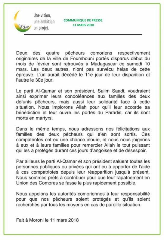 Communiqué d'Al-Qamar sur la disparition de quatre jeunes pêcheurs
