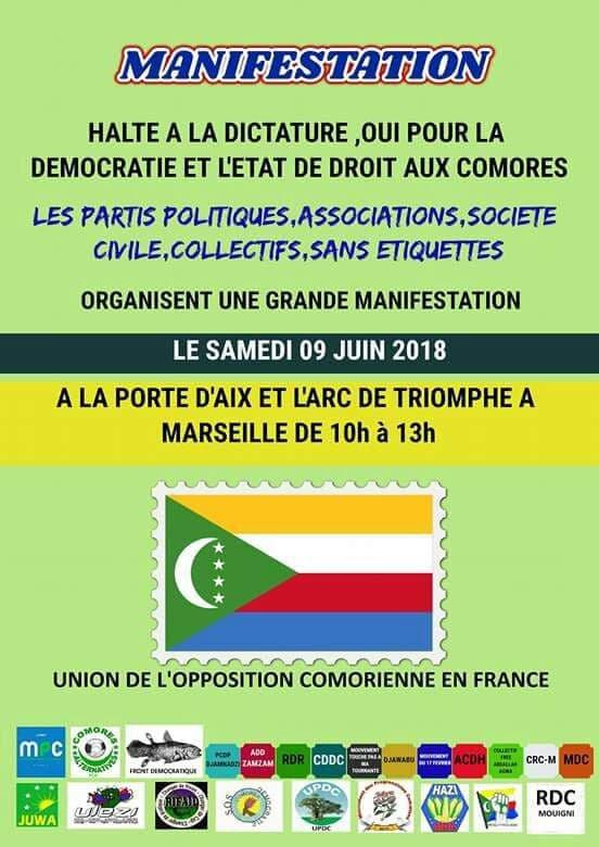 Politique: Manifestation à Marseille contre la dictature aux Comores