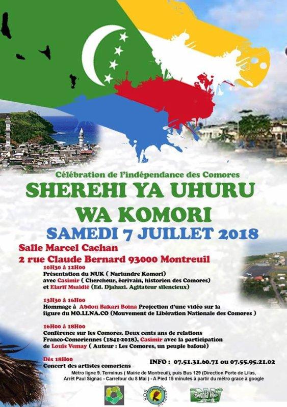 Ensemble fêtons l'indépendance des Comores le 6 juillet