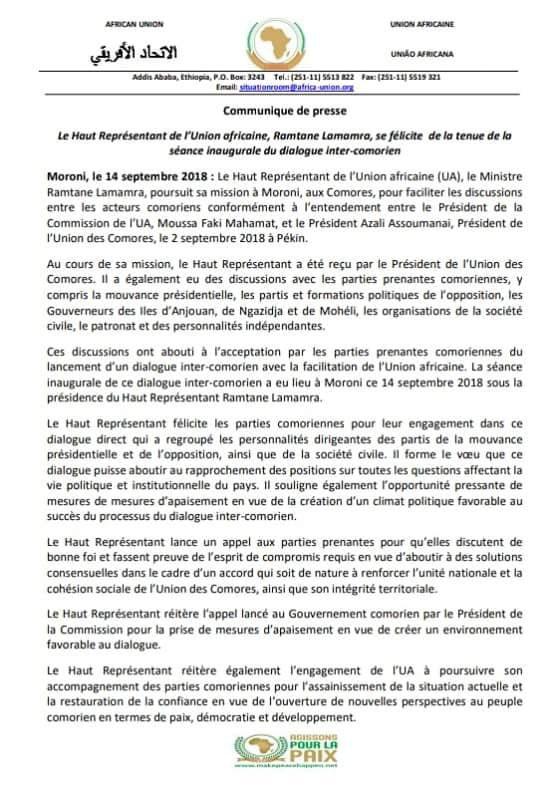 crise politique aux Comores: Communique de l'union africaine