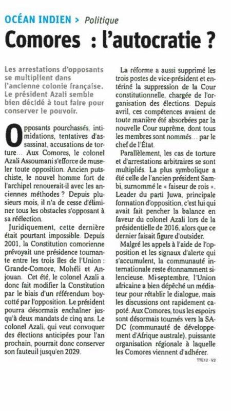 Dossier insurrectionnel journalier: La France a réagi à la suite des propos su ministre intérieur comorien