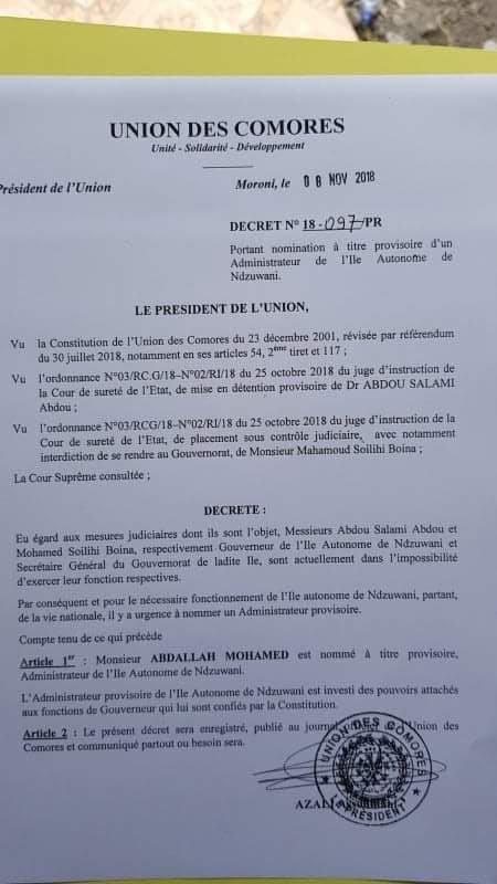Anjouan: AZALI nomme un nouvel administrateur à la place de Salami