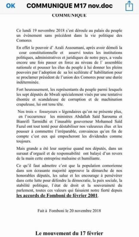 Communiqué du Mouvement du 17 février sur la loi de réhabilitation