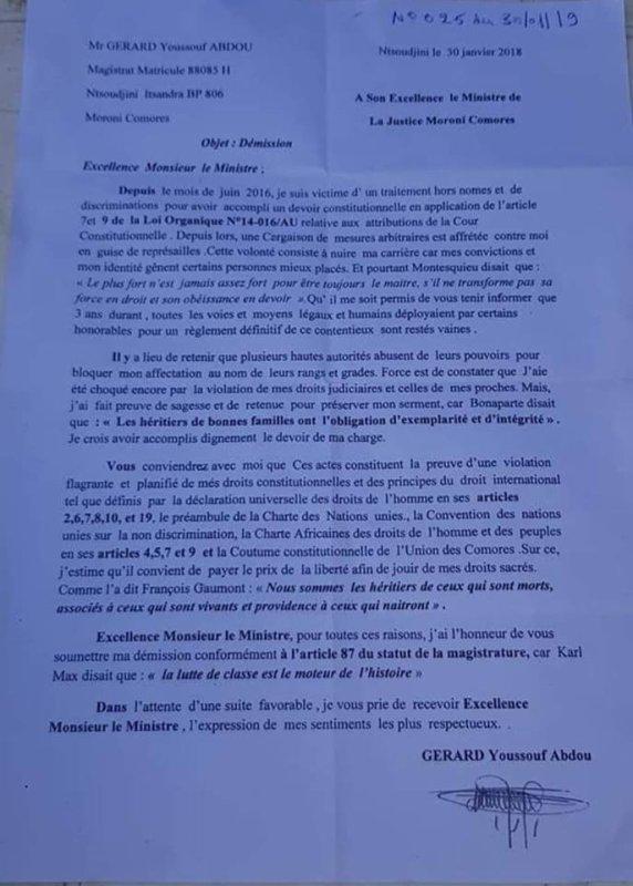 Tribunal d'instance: Le juge Gerard Youssouf brise son silence pour défendre ses intérêts