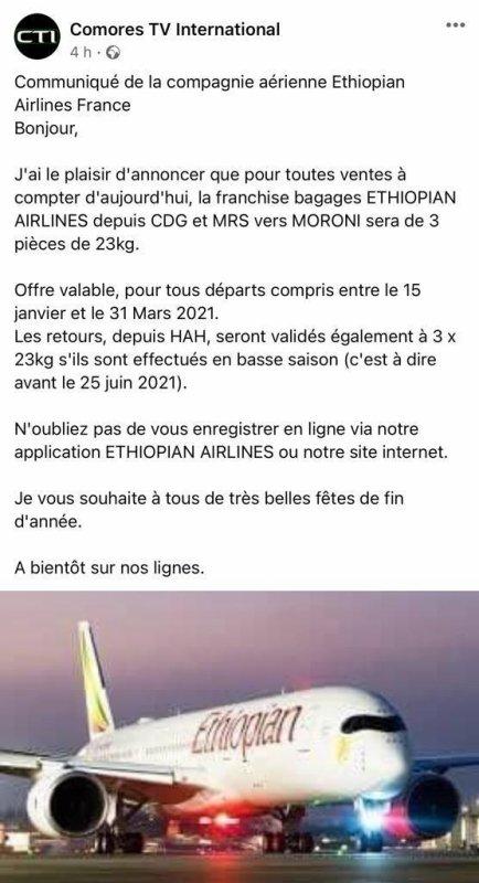 Communiqué de la compagnie aérienne Ethiopia Airlines France