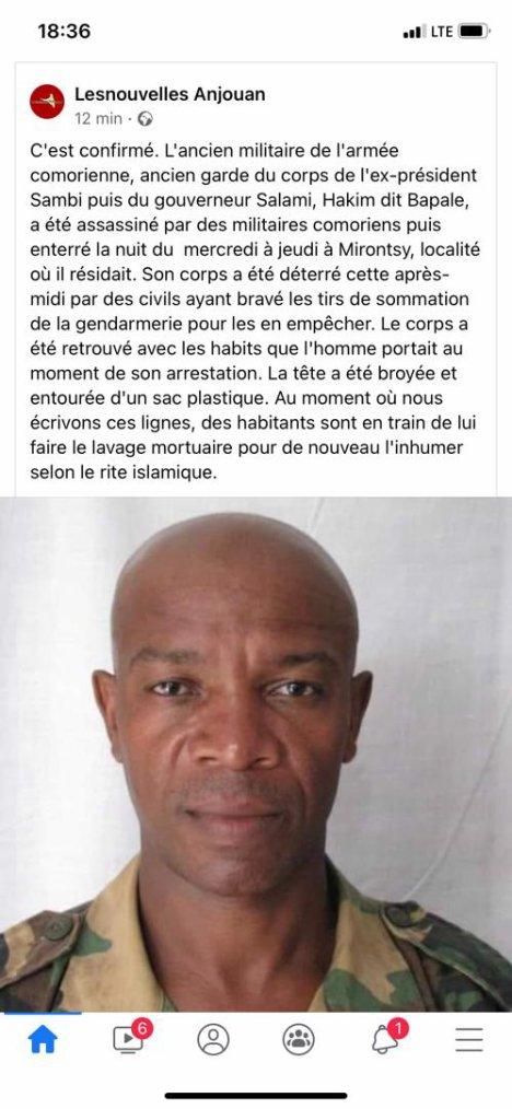 La dictature tue aux comores: Hakim Bapale assassiné par des éléments de l'armée Comorienne
