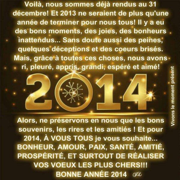 bonjour je vous souhaite a tous un bon réveillon ainsi qu'une bonne et heureuse année pour 2014  bisous