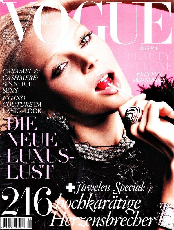 . Ieva Laguna ■■ Vogue Allemagne Novembre 2010 by Greg Kadel | Bof bof je suis pas trop fan de la couv'.