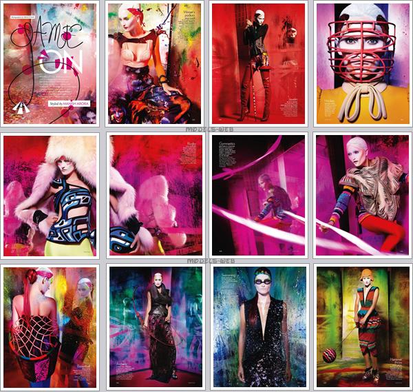 . Iekeliene Stange & Bette Franke ■■ Vogue Inde Novembre 2010 | Coloré à souhait!.