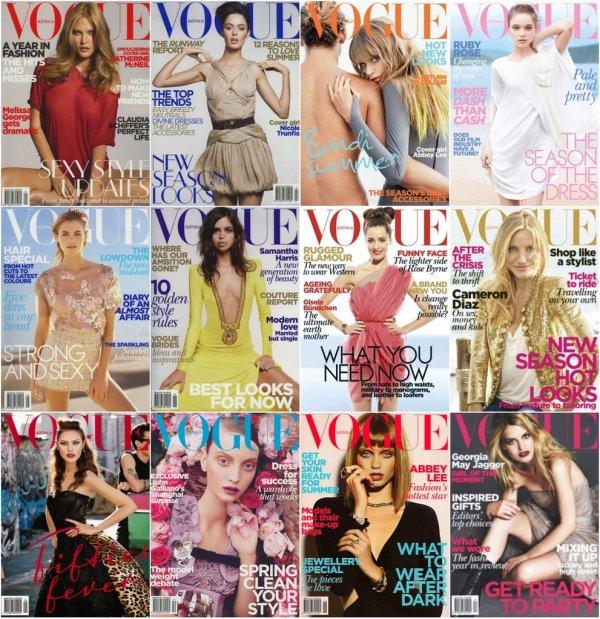 . Les couvertures du Vogue Autralie de 2010.