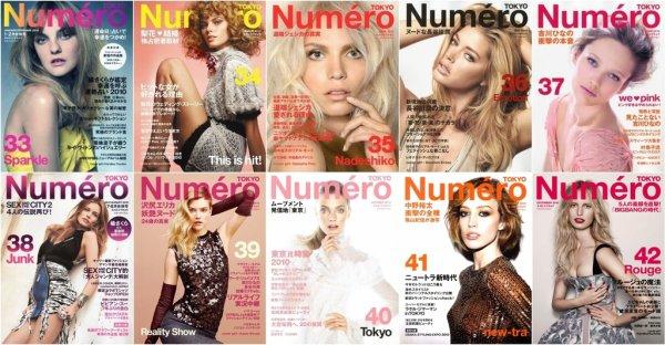 . Les couvertures du Numéro Tokyo de 2010.