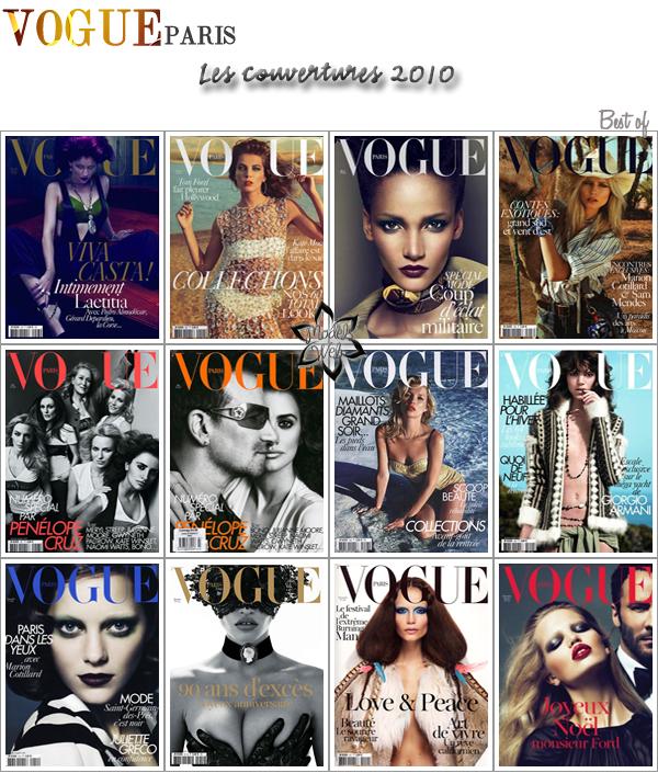 . Les couvertures du Vogue Paris 2010.