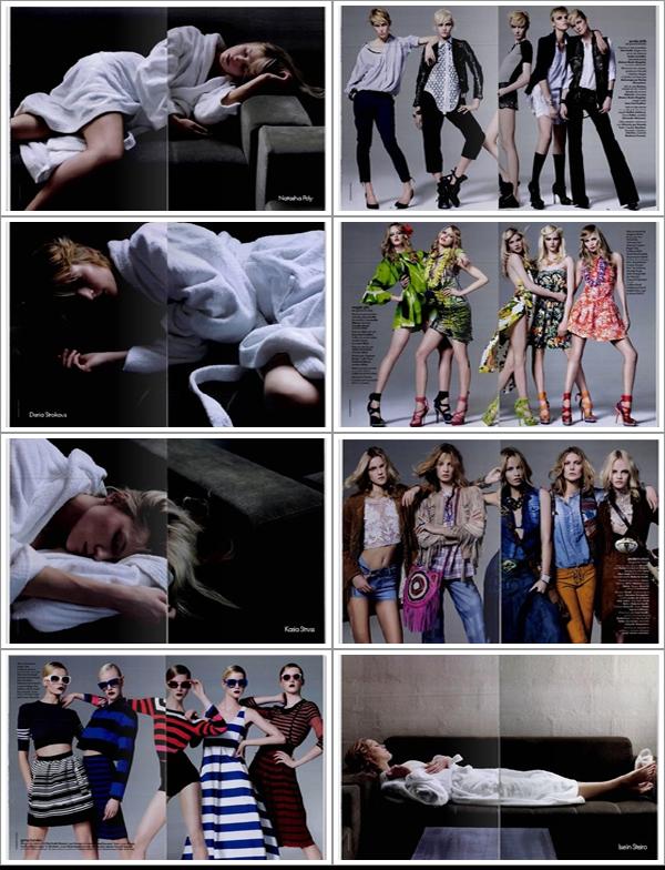 Natasha Poly, Daria Strokous, Kasia Struss, Iselin Steiro & Ginta Lapina | Elle France 6 mai 2011