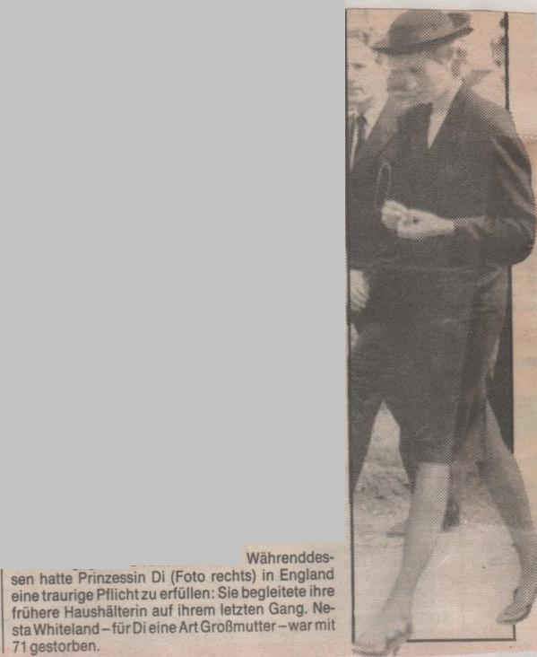 """PADDY WHITELAND _  PRINCESS DIANA  """" 03 Sep 1986"""""""