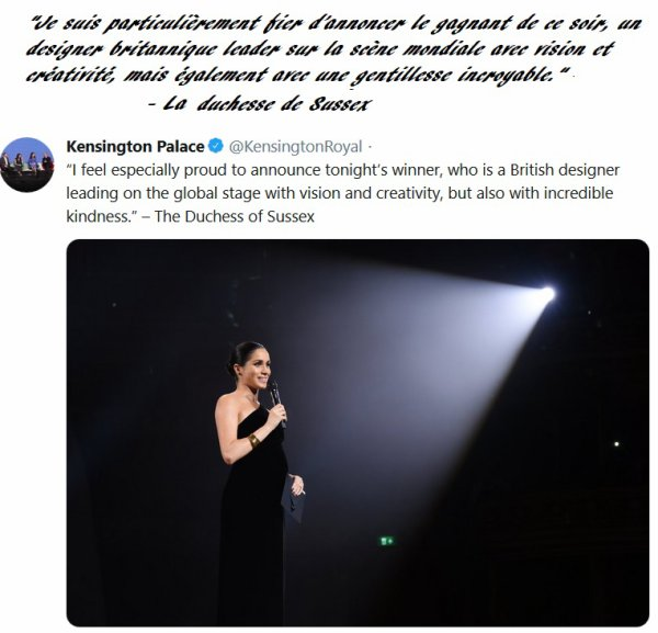 Meghan Of Sussex - British Designer Womenswear Award, le 10 décembre  2018
