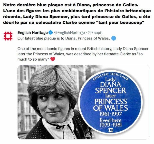 Diana , Princess Of Wales Blue Plaque , le 29 Septembre 2021