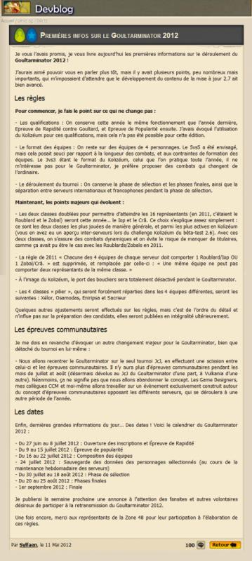 Goultarminator 2012, premières infos