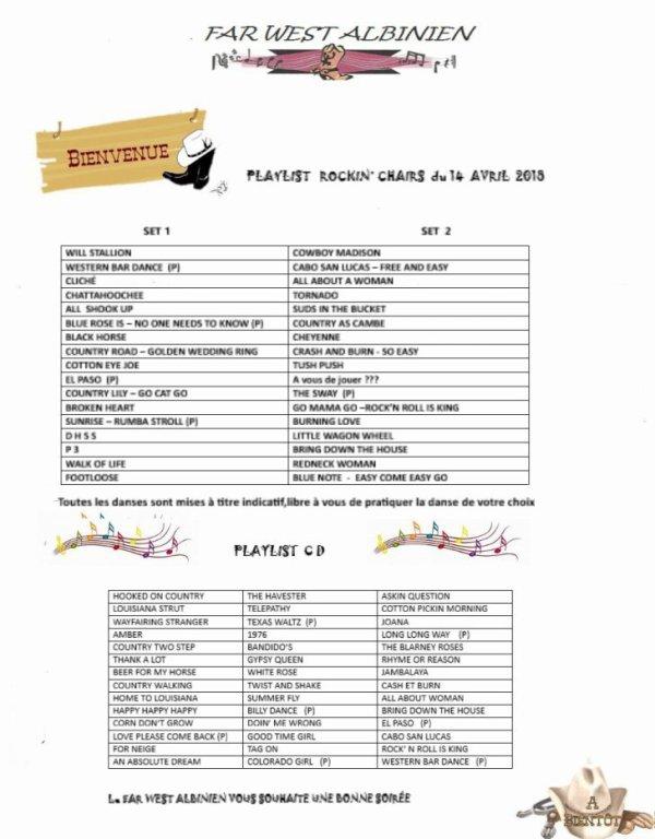 Playlist soirée du 14 avril 2018 FarWest Albinien