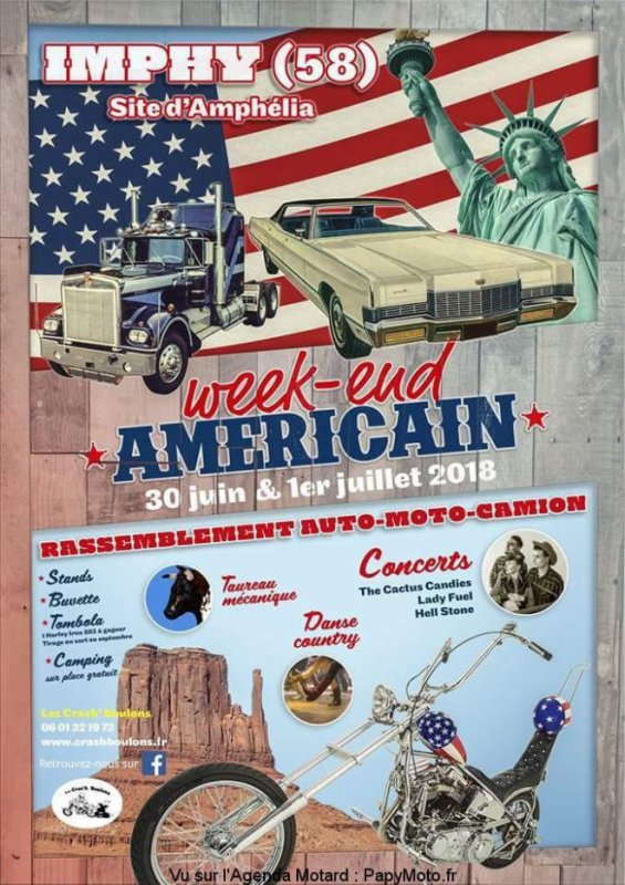 Weed-end Américain les 30 juin et 1er juillet 2018 à IMPHY 58
