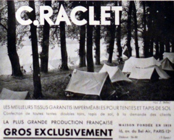 Publicité 1930 : Tente