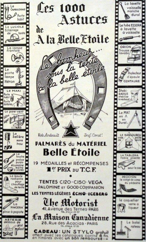 Publicité 1930 : A la belle étoile