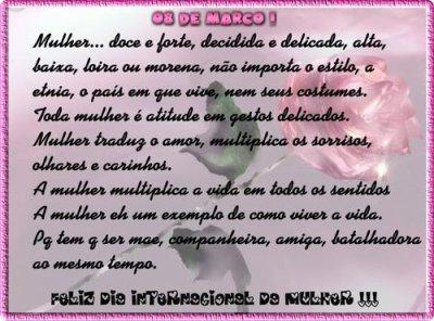 08 de Março dia Internacional da Mulher- um brinde a nós mulheres