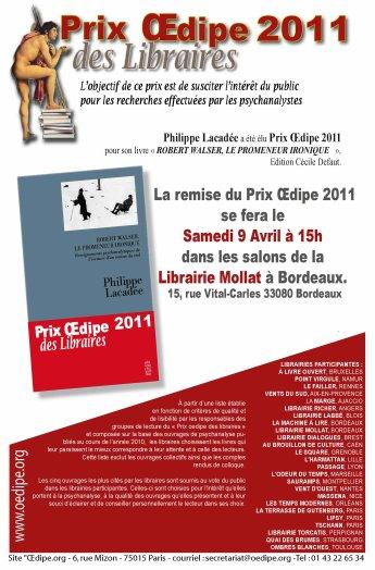 La remise du prix Oedipe 2011 à Philippe Lacadée