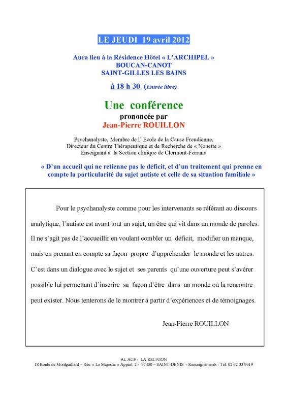 Une conférence prononcée par J-PROUILLON : 19 avril 2012 à 18h30 - Hôtel l'Archipel - ST GILLES