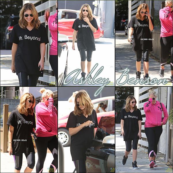 _____Catégorie  ~__ « Candids »  31 / 08 / 13 - Ashley Benson va à la gym à Los Angeles.  ► Sympa sont haut Mr. Beyoncé ;-) Et pour vous un TOP ou FLOP ?